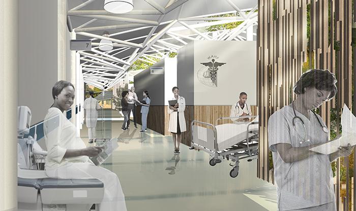 Rendering of hospital corridor