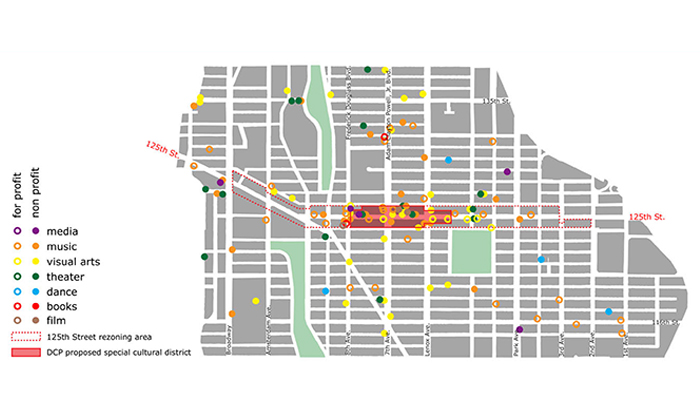 Map of cultural institutions from 113th to 137th Street